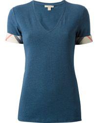 Burberry Brit Nova Check Trimmed T-shirt - Lyst