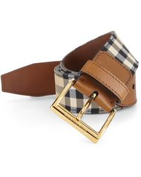 Burberry Horseferry Check Leather Belt - Lyst