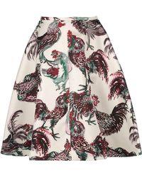 Rochas Rooster-Print Duchess-Satin Skirt - Lyst