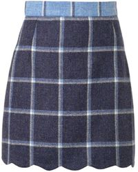 House Of Holland Coco Check Wool Skirt - Lyst
