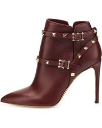 Valentino Rockstud Harness Ankle Boot - Lyst