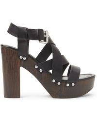 f77d493abcf Madden Girl - Black Junnee Wood Platform Sandals - Lyst