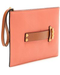 Valentino Viva Leather Clutch pink - Lyst