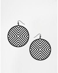 Asos Cutout Circle Earrings - Lyst