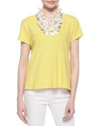 Eileen Fisher Short-Sleeve Organic Cotton Tee yellow - Lyst