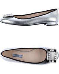 Prada Silver Ballet Flats - Lyst