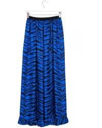 Emanuel Ungaro Zebrine Cobalt Blue Long Silk Skirt - Lyst