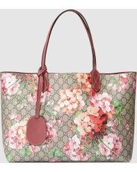 Gucci | Reversible Gg Blooms Leather Tote | Lyst