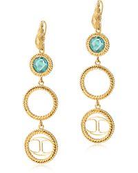 Just Cavalli - Just Queen Golden Earrings W/crystal - Lyst