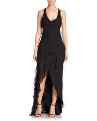 Haute Hippie | Cowl-front Ruffled Silk Dress | Lyst