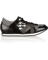 McQ by Alexander McQueen Mcq Runner Houndstoothprint Canvas and Leather Sneakers - Lyst