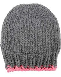 Wool And The Gang - Zion Lion Hat Tweed Grey And Neon Pink - Lyst