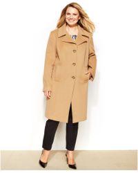 Anne Klein Plus Size Wool-Cashmere-Blend Walker Coat - Lyst