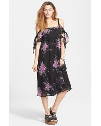 Free People 'Tied To You' Floral Print Tie Sleeve Midi Dress blue - Lyst