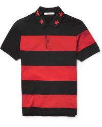 Givenchy Cuban Fit Star Trimmed Striped Cotton Polo Shirt - Lyst