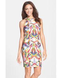 Nicole Miller Print Stretch Sheath Dress - Lyst