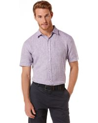 Perry Ellis Modern Fit Linen Chambray Sport Shirt - Lyst