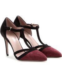 Gucci Red Suede Pumps - Lyst