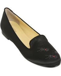 Chiara Ferragni 10mm Embroidered Ants Satin Loafers - Black
