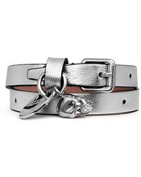 Alexander McQueen Double Wrap Skull Leather Bracelet - Lyst