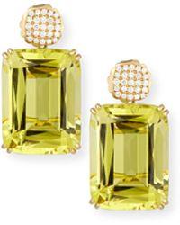 Goshwara - Gossip Pavé Diamond & Lemon Quartz Earrings - Lyst