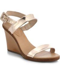 Kate Spade Metallic Leather Nice Wedge Sandals - Lyst
