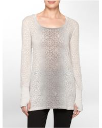 Calvin Klein White Label Performance Ombre Abstract Textured Long Sleeve Hooded Shirt gray - Lyst