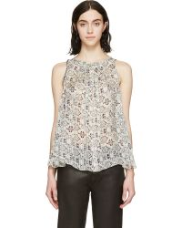 Isabel Marant Grey And Burgundy Pleated Silk Alika Top - Lyst