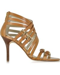 Michael Kors Ava Peanut Leather Sandal - Lyst