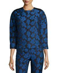 Risto - Leaf-Jacquard Crochet-Shoulder Blouse - Lyst