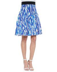 Milly Brushstroke-Print Pleated Skirt - Lyst