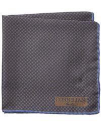 Corneliani - Blue & Brown Silk Pocket Square - Lyst
