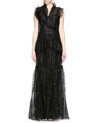 Erdem 'Finola' Cutwork Organza Gown black - Lyst
