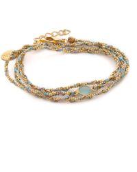 Sogoli - Stone Wrap Chain Bracelet - Gunmetal/gold/pyrite - Lyst