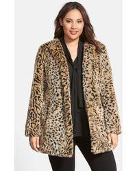 Steve Madden - Faux Fur Leopard Print Coat - Lyst