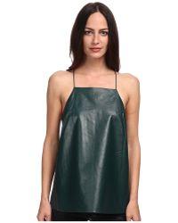 Tibi Leather W Silk Square Neck Cami - Lyst