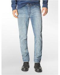 Calvin Klein Slim Straight Leg Chalked Indigo Wash Jeans - Lyst