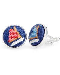 Smathers & Branson | 'rainbow Fleet' Needlepoint Cuff Links - Navy | Lyst