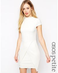 Asos Mini Dress With High Neck In Texture - Lyst