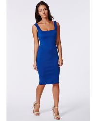 Missguided Sanga Scuba Midi Dress Cobalt - Lyst