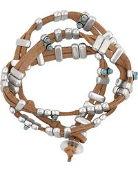 Lucky Brand Beaded Faux Suede Wrap Bracelet - Brown