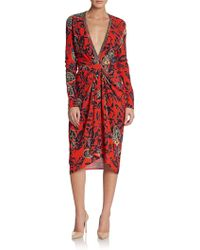 Etro Floral Print Plunging Jersey-knit Dress - Lyst
