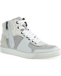 Lanvin Crocprint Hitop Sneakers Whitecomb - Lyst
