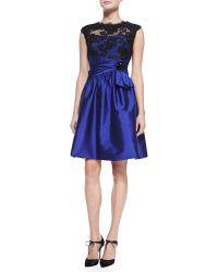 Rickie Freeman for Teri Jon Cap-sleeve Lace-bodice Cocktail Dress - Lyst