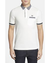 Fred Perry Slim Fit Contrast Trim Pique Polo - Lyst