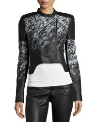BCBGMAXAZRIA Printed Cropped Faux-leather Motorcycle Jacket - Black