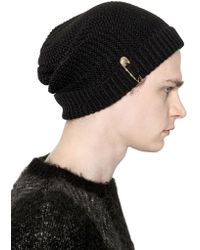 Versus - Safety Pin Rib Knit Beanie - Lyst
