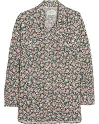 Current/Elliott The Perfect Floral-Print Voile Shirt - Lyst