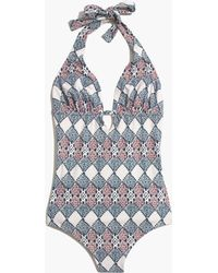 Madewell Keyhole One-Piece Swimsuit In Woodcut Diamond - Lyst