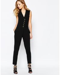 SuperTrash - Wensando Jumpsuit With Gold Buttons - Black - Lyst